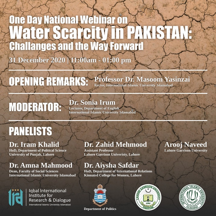 One-Day National Webinar on Water Scarcity in Pakistan: Challenges and the Way Forward